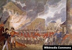 """Британские войска в Вашингтоне. На заднем плане - горящий Белый Дом. Иллюстрация из книги Поля де Рапена """"История Англии с древнейших времен"""". 1816."""