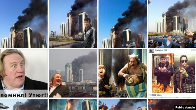 "A monitor grab of a ""Moscow Times"" collection of collages based on the Grozny skyscraper fire."
