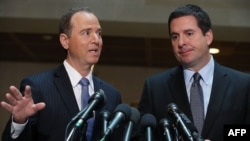 House Intelligence Committee Chairman Devin Nunes (right) and his Democratic counterpart, Representative Adam Schiff (file photo)