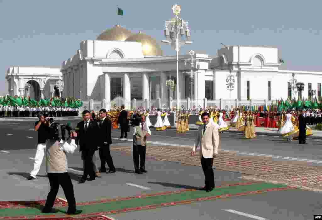 President Gurbanguly Berdymukhammedov attends an inauguration ceremony for the presidential palace complex in Ashgabat in 2011.