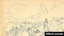 """Один из эскизов к полотну """"Запорожцы пишут письмо турецкому султану"""""""