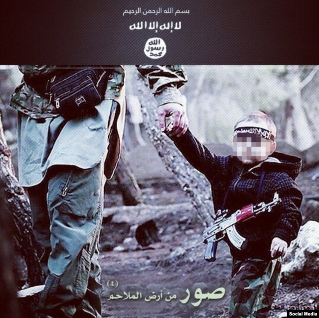 A toddler used in an Arabic recruitment poster for Islamic State. The image has been widely shared on Russian social networls
