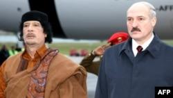 Кіраўнікі Лібіі і Беларусі Муамар Кадафі і Аляксандар Лукашэнка ў Менску 2 лістапада 2008 году