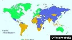 Карта свободы прессы Freedom House: синим отмечены страны с практически полным отсуствием свободы слова, зеленым - страны, где есть свобода прессы