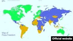 نقشه «آزادی مطبوعات ۲۰۱۴» برپایه گزارش «فریدام هاوس»