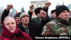 Protestatari în centrul Chișinăului