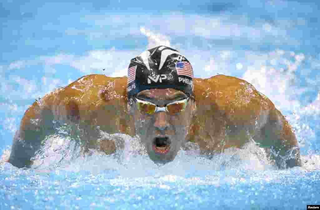 Michael Phelps of the United States competes in the men's 200-meter butterfly.