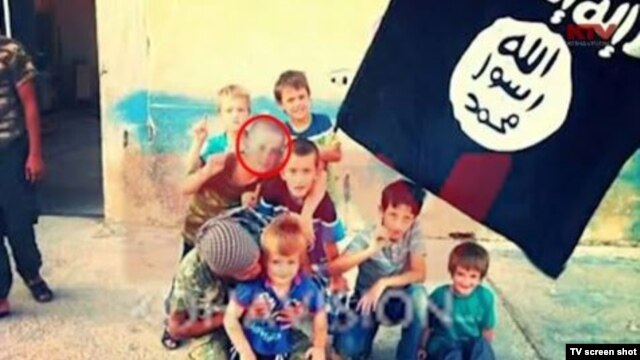 Screenshots from Kosovo TV showing Erion with an unidentified man and then later with other children in the company of IS militants in Syria