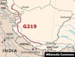 ШУАРдын Каргалык шаары менен Тибеттин борбору Лхаса шаарын байланыштырган G219 автоунаа кан жолунун картасы. КЭР.
