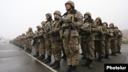 Armenia - Armenian army soldiers are lined up at a military base in Tavush province, 2Dec2016.