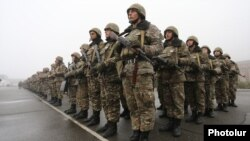 Armenia - Armenian army soldiers are lined up at a military base in Tavush province, 2Dec2016