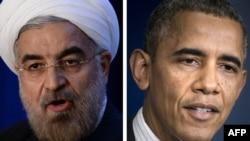 Президент США Барак Обама (справа) и президент Ирана Хасан Роухани (слева).