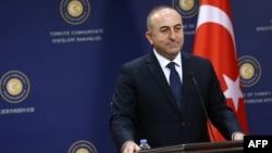 Turkey -- Turkish Foreign Affairs Minister Mevlut Cavusoglu (R) at a press conference in Ankara, December 9, 2014.