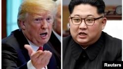 Donald Trump (solda) və Kim Jong Un