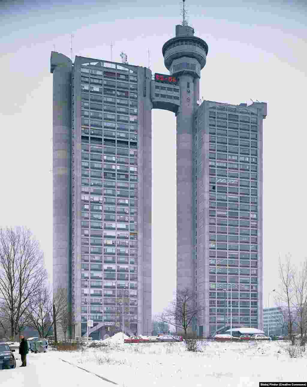 The Genex Tower on the outskirts of Belgrade. Brutalist architecture was a popular style throughout the 1950s and 1960s that favored looming chunks of exposed concrete.