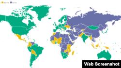 """Карта из доклада """"Свобода в мире 2018: кризис демократии"""""""