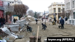 Работы по реконструкции улиц в Симферополе. 18 декабря 2016 года
