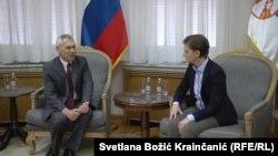 Novoimenovani ambasador Rusije u Srbiji Aleksandar Bocan Harčenko tokom sastanka sa premijerkom Srbije Anom Brnabić