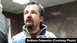 Ігор Ісхаков, відеооператор Радіо Свобода, після звільнення з міліції (фото: Svitlana Odarenko), 20 січня 2014 року