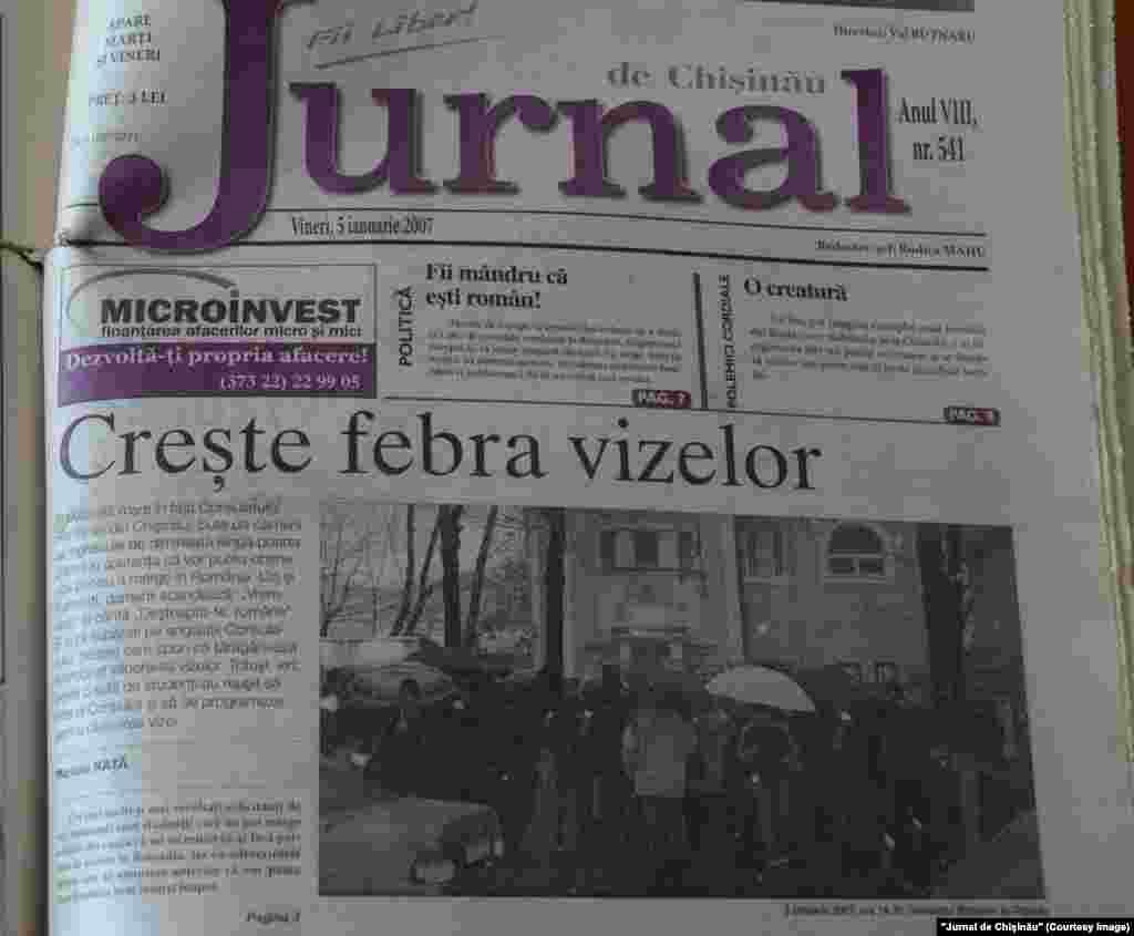 """""""Jurnal de Chişinău"""", 5 ianuarie 2007, aderarea României la UE şi procesul îngreunat de eliberare a vizelor pentru cetăţenii moldoveni"""