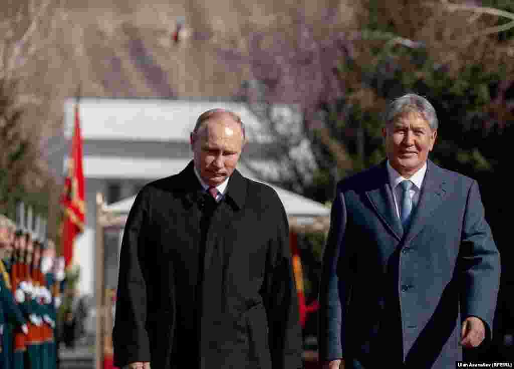 """Орус президенти Путин менен Атамбаевдин жолугушуусу """"Ала-Арча"""" мамлекеттик резиденциясында болду."""