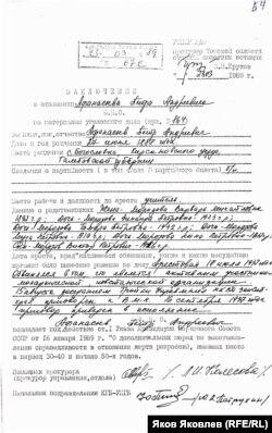 Справка о реабилитации П.А.Афанасьева