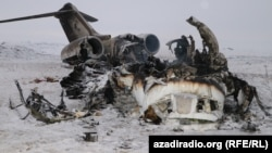 The wreck of the U.S. Bombardier E-11A that crashed in Afghanistan's Ghazni Province on January 27.