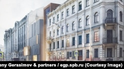 A visualization of the new wing of the Dostoyevsky museum in St. Petersburg. The old building is to the right. The facade of the new, modern wing can be seen to the left, in a space where a small green space now exists.