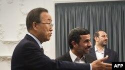 Генералниот секретар на ОН Бан Ки Мун и иранскиот претседател Махмуд Ахмадинеџад.