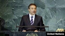 Branko Crvenkovski prilikom obraćanja na godišnjem zasedanju Generalne skupštine UN u Njujorku, 25. septembar 2008.