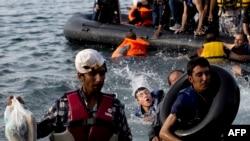 پناهجویان در سواحل جزیره لسبوس یونان