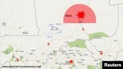Зображення на мапі місця останнього контакту літака з диспетчерським центром (з сайту аеропорту столиці Буркіна-Фасо – http://www.aeroport-ouagadougou.com)