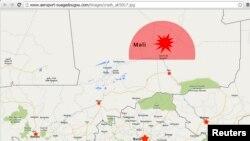 Harta ku shihet zona e fundit e kontaktit me aeroplanin e rrëzuar të Algjerisë