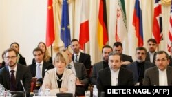 EU and Iranian delegates of Joint Comprehensive Plan of Action (JCPOA), the Joint Commission meet on October 19, 2015 at Palais Cobourg in Vienna. Araqchi is second from (R).