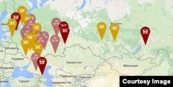 Інтэрактыўная мапа пратэстаў на сайце «Антыплатон»