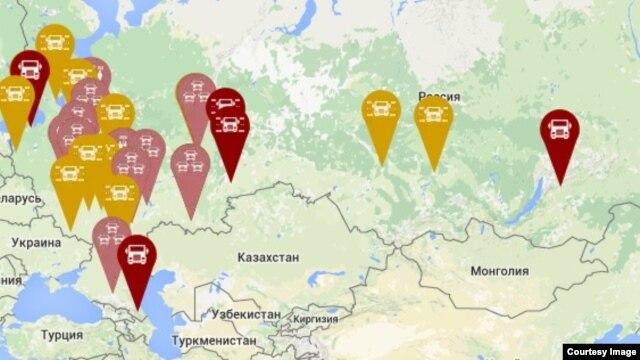 """Интерактивная карта протестов дальнобойщиков на сайте """"Антиплатон"""""""