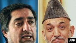 تنش بين حامد كرزاى (راست) و عبدالله عبدالله پس از آن شدت گرفت كه وزير امور خارجه سابق افغانستان خواستار آن شد تا رييس كميسيون مستقل انتخابات بركنار شود.