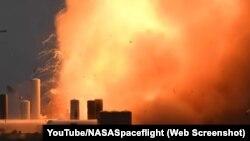 Starship зымыран үлгісінің жарылуы. Техас, 30 мамыр 2020 года.