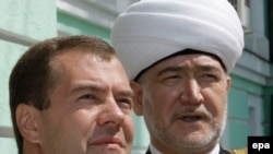 Russian President Dmitry Medvedev and Council of Russian Muftis head Ravil Gainutdin