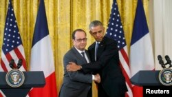 باراک اوباما در کاخ سفید میزبان فرانسوا اولاند بود.