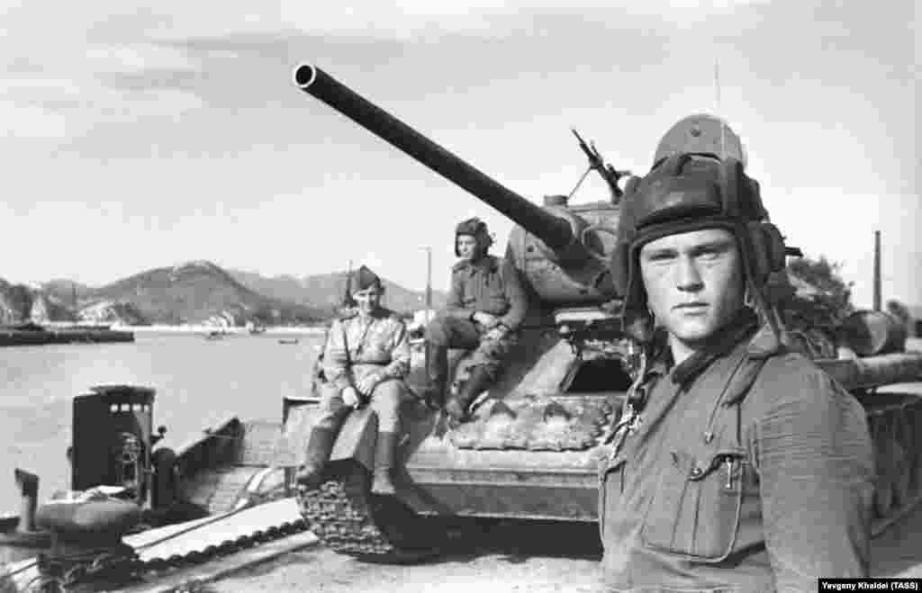 Lieutenant Vasily Sarafonov, a T-34 tank commander, poses for a photo in Port Arthur during the campaign against Japan in 1945.
