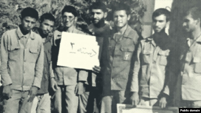 """Mojtaba Khamenei during the Iran-Iraq war in """"Habib Battalion"""". Most of his former comrades in this photo are now key security officials."""