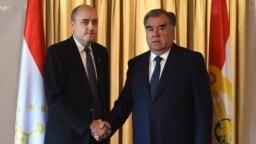 RFE/RL President Jamie Fly meeting with Tajik President Emomali Rahmon in Zurich, Switzerland (7Nov2019)