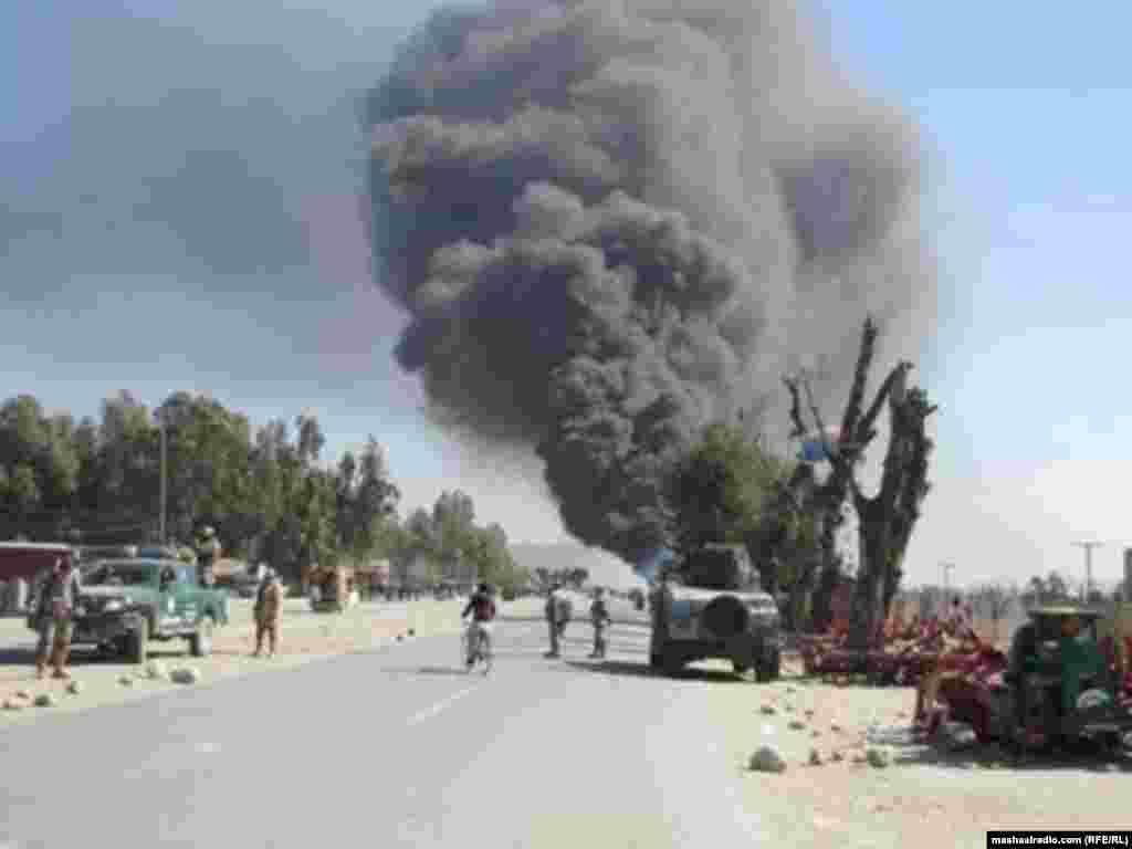 Smoke billows from the site of an explosion in Jalalabad on April 15.