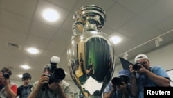 The Euro 2012 trophy during its presentation ceremony in Kyiv in July