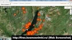 Карта лесных пожаров 21.08.15