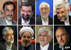 Iran's approved presidential candidates: (top left to right) Ali Akbar Velayati, Mohsen Rezai, Mohammad Gharazi, Said Jalili, (bottom left to right) Gholam Ali Haddad-Adel, Hassan Rohani, Mohammad Reza Aref, and Mohammad Baqer Qalibaf.