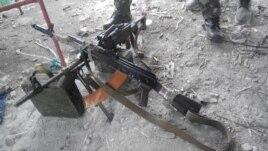 Трофейное оружие и боеприпасы, захваченные военными на шахте