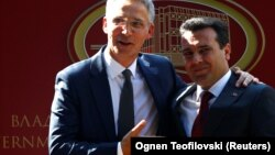 NATO Secretary-General Jens Stoltenberg (left) with Macedonian Prime Minister Zoran Zaev in Skopje on September 6.