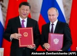 Владимир Путин и Си Цзиньпин на переговорах в Кремле 5 июня 2019 года